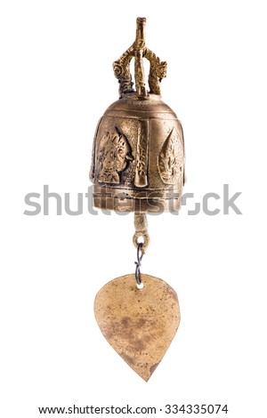 an indian bronze wind bell isolated over a white background - stock photo