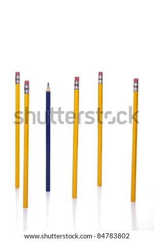 An individual blue coloring pencil among common yellow pencils.