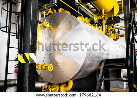 an industrial chiller stainless tank, a brewery - stock photo