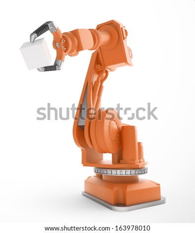 An industrial robot holding a box - stock photo