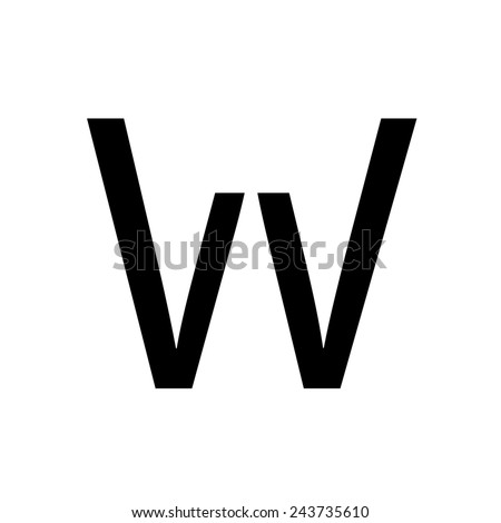 An Inividual Alphabet Characters of a Custom Font - Uppercase W - stock photo
