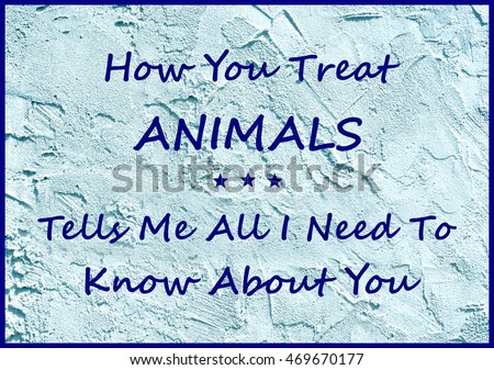 "An insightful sign on blue stucco background reads ""How You Treat ANIMALS Tells Me All I Need  To Know About You""."