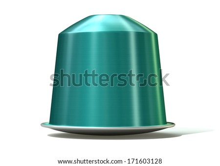 An instant espresso coffee capsules sealed with foil on an isolated white background - stock photo