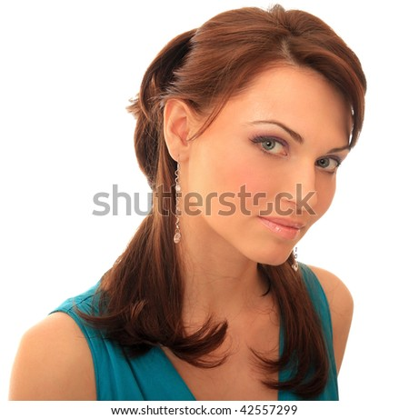 An interesting  look of a beautiful girl. - stock photo