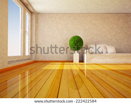 an interesting round green plant in the room, 3D rendering - stock photo