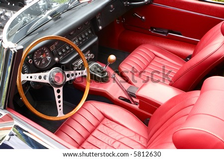 An interior of the retro old car