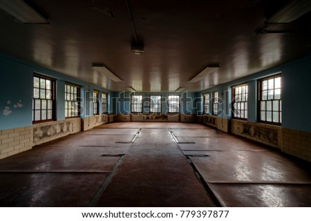 An interior view of a derelict ward with blue painted walls and eleven windows at the abandoned Laurelton State School and Hospital in the central mountains of Pennsylvania.