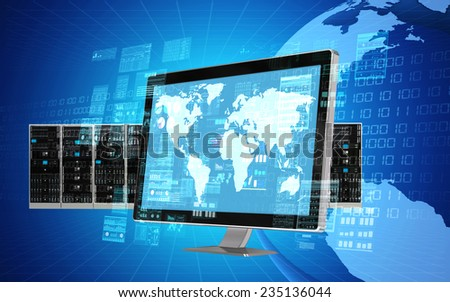 An internet server computer doing data processing and calculating activity - stock photo