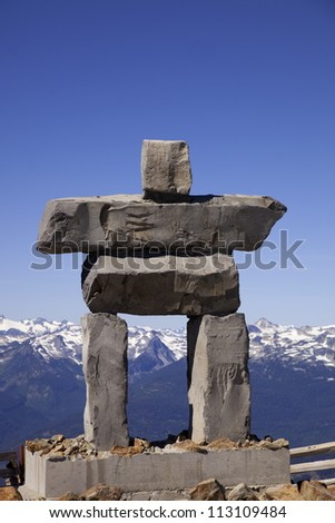 An inukshuk on the peak of Whistler Mountain.