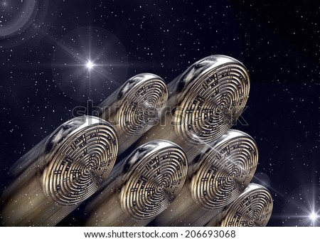 An invasion of the skies by an alien fleet - stock photo