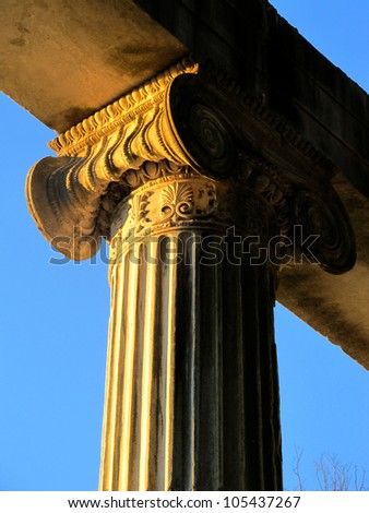 An ionic column in early morning sunlight