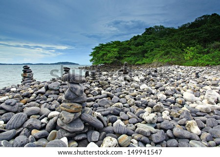 An island of smooth polished rocks in formation, a tourist attraction near Koh Lipe (aka Ko Lipeh), Thailand, part of Tarutao National Park