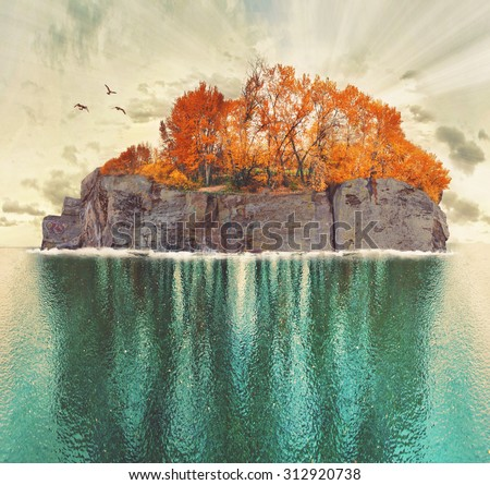 an island with trees and birds toned with a retro vintage instagram filter app or action effect  - stock photo