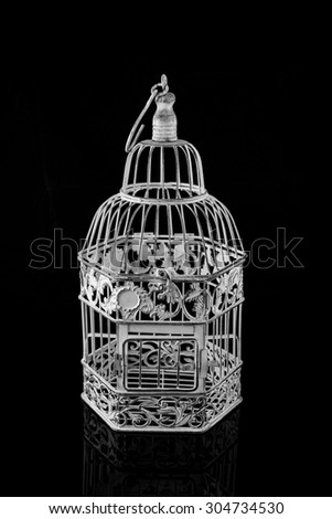 an isolated bird cage - stock photo