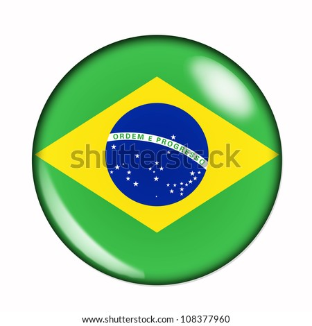An isolated circular flag of Brazil - stock photo
