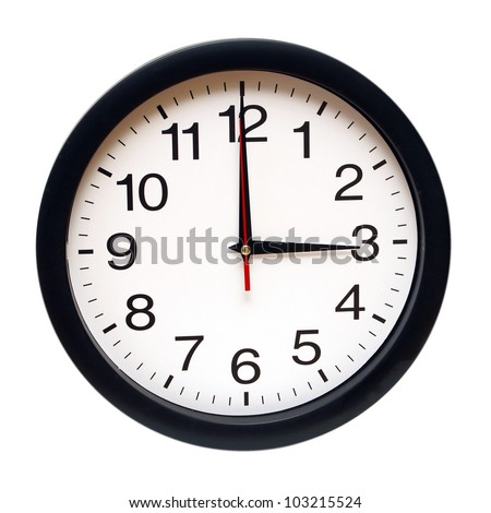 An isolated clock with the time being three am. - stock photo