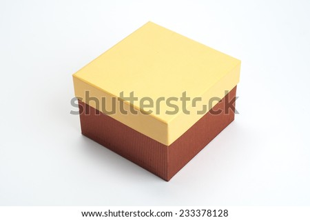 An isolated closed paper container box on white background. - stock photo