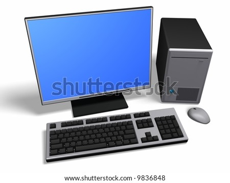 An isolated desktop computer on white background - stock photo
