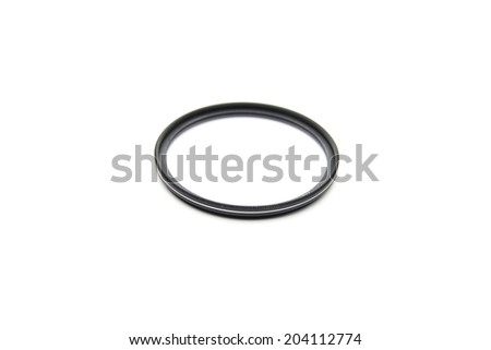 An isolated DSLR lens on white background - stock photo