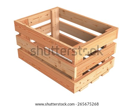 An isolated empty wooden fruit crate - stock photo