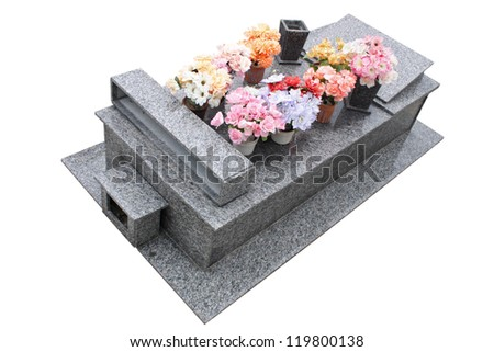 An isolated grave on white background. - stock photo