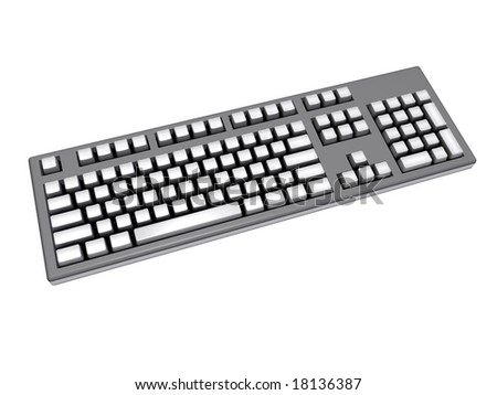 An isolated gray keyboard with white keys on white background