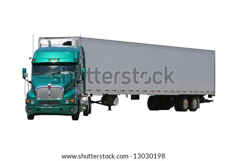 An isolated green semi tractor trailer turned to the left