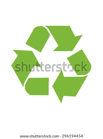 An isolated illustration of a recycle icon in green for Global conservation. - stock photo