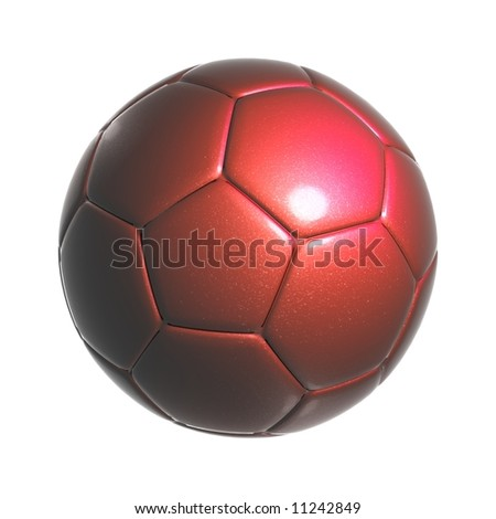 An isolated image of a colored leather soccer ball