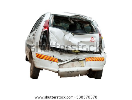 An isolated image of a crashed, wrecked and totalled white hatchback. Insurance claims pending!