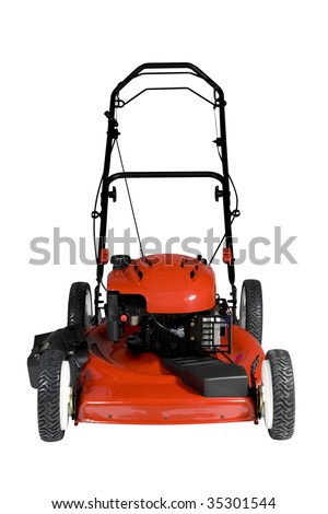 An isolated lawnmower on a white background. - stock photo