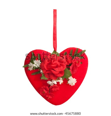 An isolated on the white background valentine with roses - stock photo