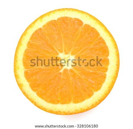An isolated orange slice - stock photo