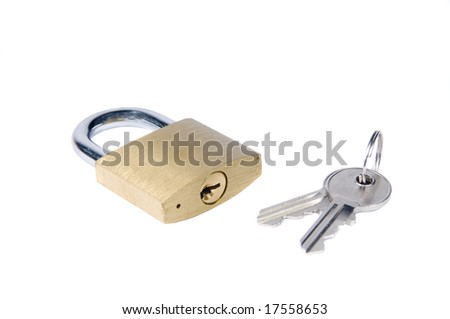 An isolated padlock and key on white. - stock photo