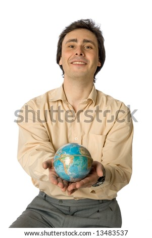 An isolated photo of a smiling man with a globe - stock photo