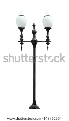 An isolated photo of an old street lamp post