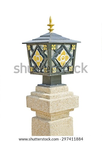 An isolated photo of an street floral patterns lamppost. - stock photo