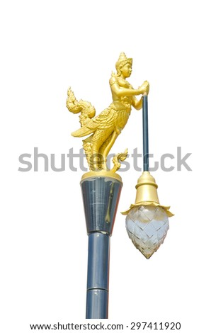An isolated photo of an street Thai Kinnaree patterns lamppost. - stock photo