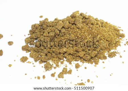 An isolated pile of traditional Georgian spice khmeli suneli on white background