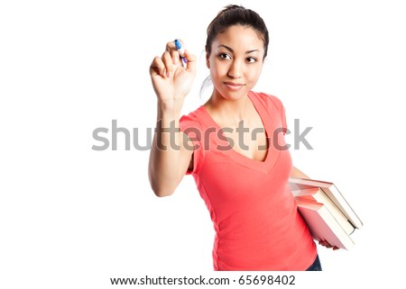 An isolated shot of a beautiful black college student (focus on the student) - stock photo
