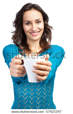 An isolated shot of a beautiful caucasian woman holding a cup of coffee - stock photo