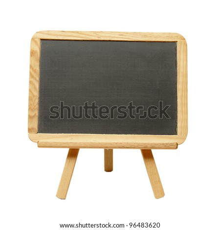 An isolated shot of a blank chalkboard on an easel. - stock photo