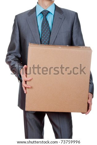 An isolated shot of a businessman carrying a paper box, business moving concept - stock photo