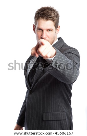 An isolated shot of a caucasian businessman pointing