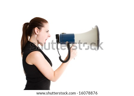 An isolated shot of a caucasian businesswoman shouting through a megaphone - stock photo