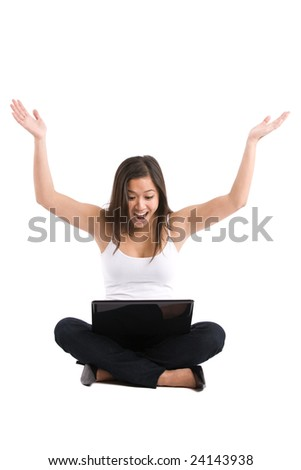 An isolated shot of a happy beautiful asian woman working on her laptop - stock photo