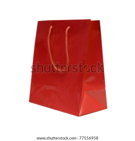 An isolated shot of a red gift bag to put that special gift in. - stock photo