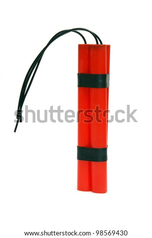 An isolated shot of some bundled dynamite. - stock photo