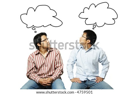 An isolated shot of two businessmen reading each other's thoughts