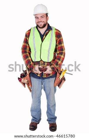 an isolated smiling contractor with tools and tool belt - stock photo